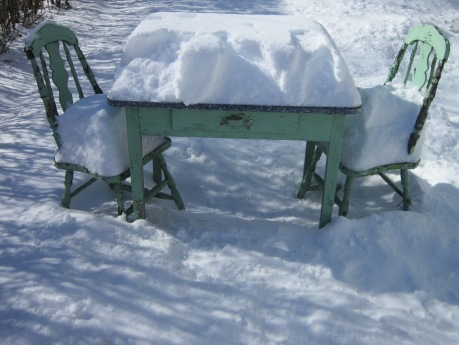Garden furniture in the snow, Hudson Valley, NY. Source: HudsonValleyGardens.us
