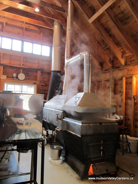 Wood burning sap evaporator. www.HudsonValleyGardens.us
