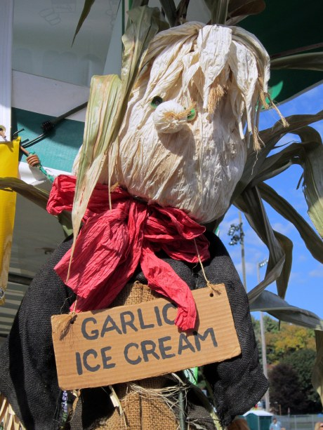 A scarecrow with a sign for garlic ice cream at Hudson Valley Garlic Festival