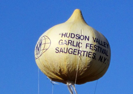 gigantic garlic shaped balloon at the Hudson Valley Garlic Festival