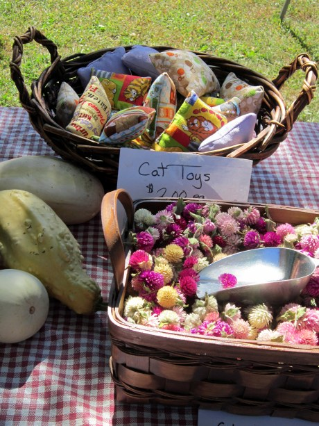 squash, dried flowers and cat toys by Marsh Meadow Farm at the Hudson Valley Garlic Festival