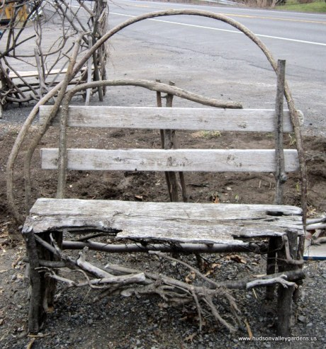 Garden furniture, a chair made from scrap wood with a curved back